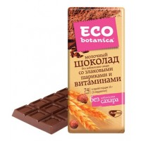 Milk chocolate Eco-botanica with cereal balls and vitamins wholesale